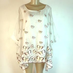 Vintage Concept Butterly Poncho Top White Medium